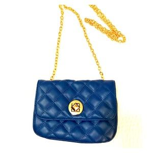 Blue Clutch with Removable Chain Shoulder Strap
